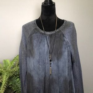 Stunning dyed blue knit and sheer sweater